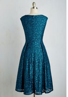 Luxe Lifestyle Dress. Your couth taste deserves to be showcased, so demonstrate your world-class cultivation in this teal A-line from Adrianna Papell. #blue #modcloth