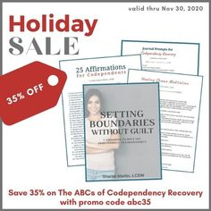 Take 35% off The ABCs of Codependency Recovery, a digital toolkit by psychotherapist Sharon Martin, through Nov 30, 2020 with promo code abc35