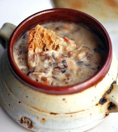 This chicken, bacon, and wild rice soup is one of many seasonal soups that we can serve in the winter.