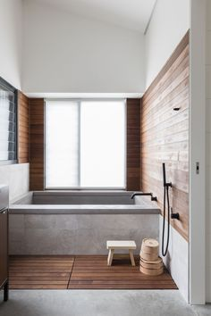 This Japanese inspired bathroom at a home in Orange features a timber slatted floor designed as washing space before bathing. Best Bathroom Designs, Bathroom Interior Design, Bathroom Styling, Decor Interior Design, Bathroom Ideas, Zen Bathroom Design, Bathtub Ideas, Bathroom Organization, Kitchen Interior