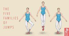 The Five families of Ballet Jumps Ballet Kids, Ballet Class, Dance Class, Ballet Dance, Ballet Studio, Ballet Basics, Ballet School, Ballet Terms, Dance Jumps