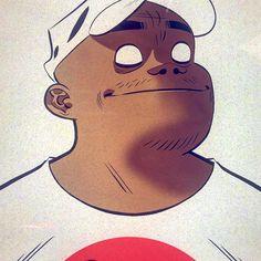 Gorillaz- Russ, by Jamie Hewlett Russel Gorillaz, Gorillaz 2 D, Jamie Hewlett Art, Dance Like This, Majin Boo, Russel Hobbs, Best Profile Pictures, Fanart, Cool Bands