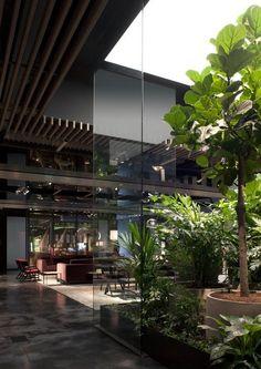 Dream House Interior, Interior Garden, Dream Home Design, Modern House Design, Home Interior Design, Interior Architecture, Modern House Facades, Building Architecture, Sustainable Architecture
