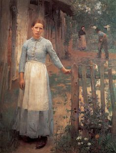 The Girl at the Gate (1889) by George Clausen.  Although arespected teacher at the Royal Academy and though eventually knighted, never really got the recognition in his home country that he deserved. He was a Naturalist, which meant, that he was a painter of ugliness: ugly people and things, painted in ugly colors. To those who appreciated representational paintings, who introduced England to an innovative manner of painting, which introduced England to an innovative manner of painting.