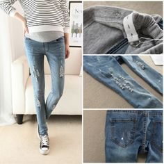 5aa17863e7c Korean Fashion Autumn Maternity Pencil Hole Jeans Slim Pants Clothes for Pregnant  Women Skinny Belly Trouser