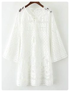 V Neck Bell Sleeve Lace Hollow Out Dress (White)