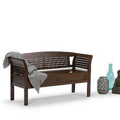 Wood Storage Bench Entryway Seat Shoe Organizer Furniture Rack Home Cushion