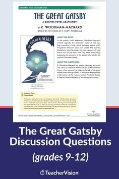 This discussion guide for the graphic novel adaptation of The Great Gatsby includes 20 questions that can be used as part of an in-class discussion or assigned for individual reflective or collaborative writing activities. #thegreatgatsby #discussionquestions #readingresources #teachingresources Reading Resources, Reading Skills, Writing Activities, 20 Questions, This Or That Questions, The Great Gatsby, Learn To Read, Reading Comprehension, Phonics