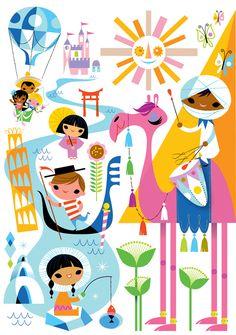 Kirsten Ulve--It's a Small World  vector illustration