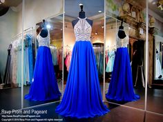 Sparkle and dance the night away in this elegant chiffon gown with a halter top completed covered with silver and royal blue embellishments! And it's at Rsvp Prom and Pageant, your source for the HOTTEST Prom and Pageant Dresses!