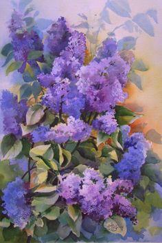 Purple flowers with orange/blue/green background