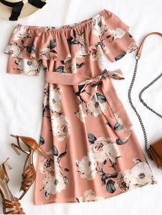 Floral Ruffle Off Shoulder Mini Dress - Pink M Cute Girl Outfits, Cute Casual Outfits, Pretty Outfits, Pretty Dresses, Stylish Outfits, Dress Outfits, Casual Dresses, Mini Dresses, Peasant Dresses