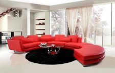 A94 RED LEATHER SEMI CIRCLE / S SHAPE SECTIONAL
