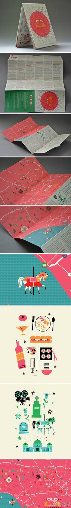 Los Angeles Map Design by Brad Woodward & Herb Lester-www.design360.cn