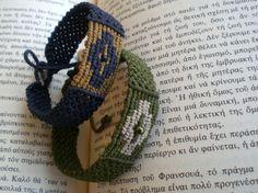 Bracelet en macramé. Manchette. Bijou. Tissé à la main. Il est ajustable. Bracelets bleus et verts.