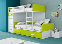 All the featured bunk-beds are strong, durable and safe yet they also have modern designs which make them a perfect addition to any kid's room in Kids Bedroom Designs, Bunk Bed Designs, Kids Room Design, Bunk Beds With Stairs, Kids Bunk Beds, Kids Bedroom Furniture, Furniture Dolly, Loft Spaces, Boy Room