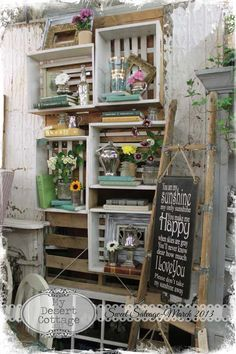 Crate shelves. My Desert Cottage: March at Sweet Salvage :: I like the light crates here ~ study the white vs. the dark just Pinned ... perhaps the Season of show dictates?!