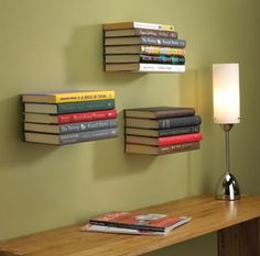 I love decorating with books. These floating book shelves are the greatest thing for displaying all of your favorite books.