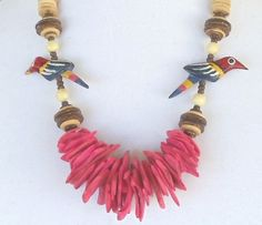 """Vintage Wood Chunky Necklace,22"""" (56cm) Red,Brown,Tan  Wood Beads,2 Hand Carved Wood Parrots,Brass Screw Clasp,Excellent Condition,#VJ2001N by CKDesignsForYou on Etsy"""