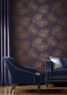 Lotus by Graham & Brown - Plum - Wallpaper : Wallpaper Direct Plum Wallpaper, Lotus Wallpaper, Wallpaper Please, Home Wallpaper, Flower Wallpaper, Print Wallpaper, Colorful Wallpaper, Plum Paint, Copper Accessories
