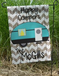 Monogrammed Garden Flags - Great for home or travel - Happy Camper Flags - Customize your Lettering/Saying Camping Photo, Go Camping, Camping Hacks, Outdoor Camping, Camping Ideas, Camping Theme, Vintage Camper, Vintage Trailers, Camper Signs