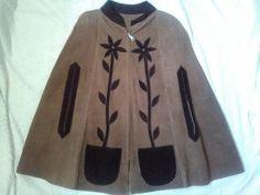 vintage suede poncho leather applique poncho mod    Clothing, Shoes & Accessories, Vintage, Women's Vintage Clothing   eBay!