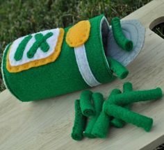 Felt Food Canned Green Beans Set of 11 by TheFeltedPear on Etsy