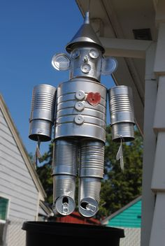 """Tin Can Tin Man"" We have a mr and a mrs for the lake that Jason's grandpa made us! Jeremy calls them zebots! (Robots!)"
