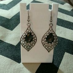 Pretty black n silver earrings Silver filagree charm with black accent and crystals. Beautiful.  New. Jewelry Earrings