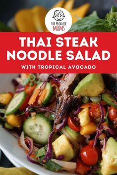 Thai Steak Noodle Salad with Tropical Avocado is packed with flavor and fresh nutritious fruit. Grab this recipe for a perfect and easy family meal. Coconut Fish, Marinated Steak, Noodle Salad, Roasted Peanuts, Easy Family Meals, Shredded Coconut, Noodles, Healthy Recipes, Kitchens