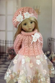 The dress for a doll Дианна Effner Little Darling doll clothes, dress # Ag Doll Clothes, Crochet Doll Clothes, Knitted Dolls, Crochet Dolls, Reborn Dolls, Baby Dolls, Child Doll, Reborn Babies, Sasha Doll