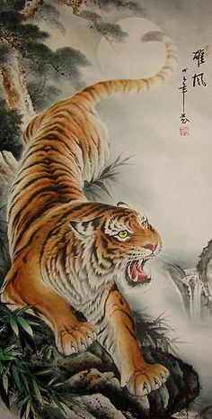 Japanese Embroidery Tiger Image Detail for - Chinese Paintings. Chinese Tiger Paintings at the The Gallery of China . Tiger Body, Tiger Face, Japanese Painting, Chinese Painting, Japanese Art, Traditional Japanese, Japanese Sleeve, Tiger Illustration, Tiger Drawing