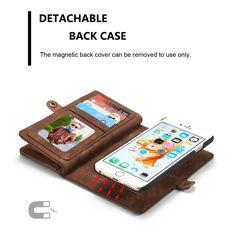 Caseme Genuine Leather Detachable Magnetic Zipper Wallet Case Cover Cash Slots | eBay