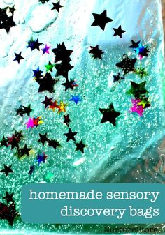 Homemade sensory bags for sensory play activities for babies, toddler and older children. Love the tip about using it for spelling!