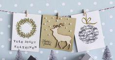 Joulukortti ilahduttaa! Nämä helpot kortit saivat inspiraationsa pyöreistä muodoista: kransseista, joulupalloista, valosarjoista ja helmistä.
