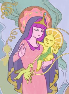 Illustrator micro cosmo casts two of the ladies of Adventure Time as Modern Madonnas. Princess Bubblegum is Mary with Lemongrab child while Marceline sheds tears for the Ice King in an echo of the Pietà. Adventure Time Princesses, Adventure Time Art, Time Cartoon, Cartoon Shows, Person Cartoon, Marceline, Princesse Chewing-gum, Abenteuerzeit Mit Finn Und Jake, Baby Cartoon Characters