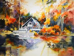Lake house - bright watercolor landscape, autumn forest, painting, light