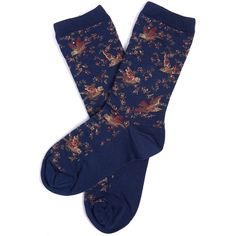 Women's Barbour Vintage Bird Socks - Navy ($13) ❤ liked on Polyvore featuring intimates, hosiery, socks, accessories, socks/tights, barbour, vintage hosiery, vintage socks, navy blue hosiery and navy hosiery
