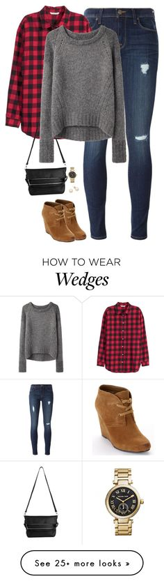 """Buffalo checks, gray sweater & wedge boots"" by steffiestaffie on Polyvore featuring Hudson, H&M, Whistles, Dolce Vita, VPL and Michael Kors"