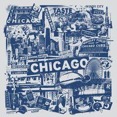 Chicago Silk Screen City Art Print Poster - Etsy