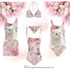 Cat and pink flowers one piece swimsuit, bikini. #artsadd #swimwear #cats FREE Shipping. FREE Returns. Buy on http://www.artsadd.com/store/erikakaisersot?rf=11001