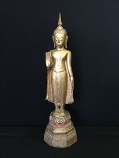 Standing wooden Buddha, North Thailand, late 19th Cent.