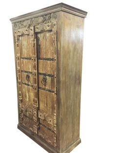 Antique Wardrobe Old Doors Indian Furniture Iron Storage