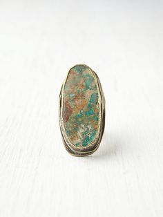 AnasaZi Epic RinG  *By B0ra     Beautiful oversized turqoise stone ring. Intricate engraving on metal around stone and band.    *Persian Turquoise with Bronze and Oxidised Sterling Silver