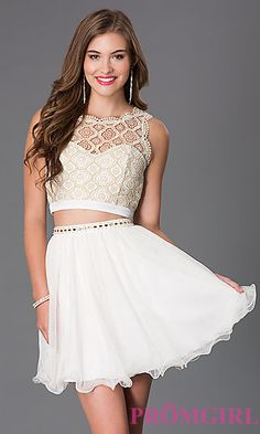 Two piece white and gold homecoming dress