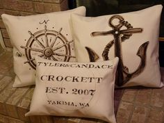 pillows with design transferred with charcoal and then painted
