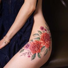 23 Trendy Hip Tattoos That Are Actually Badass Flower Tattoo Designs, Tattoo Designs For Women, Flower Tattoos, Tattoo Girls, Girl Tattoos, Tatoos, Floral Hip Tattoo, Professional Tattoo Kits, Badass