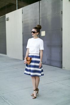 Kingdom & State stripe bell skirt Vanilla Extract Fashion Blogger