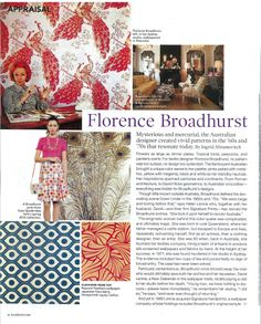 About Florence Broadhurst in Elle Deco