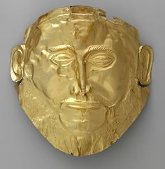 """Electrotype reproduction of the gold """"Mask of Agamemnon"""" from Mycenae"""